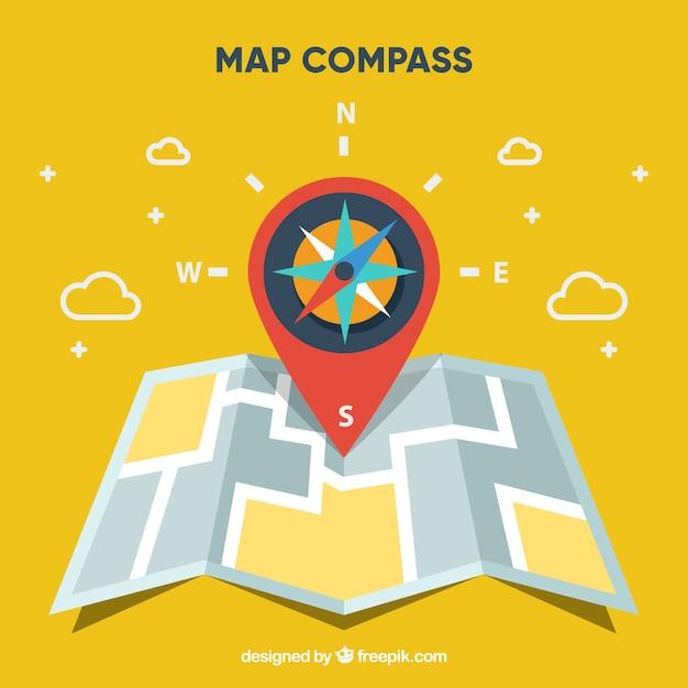 Płaskie Mapę Tło Kompas Darmowych Wektorów