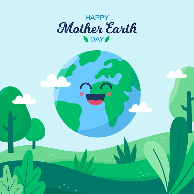 Płaskie Matka Dzień Ziemi Tapeta Koncepcja Darmowych Wektorów