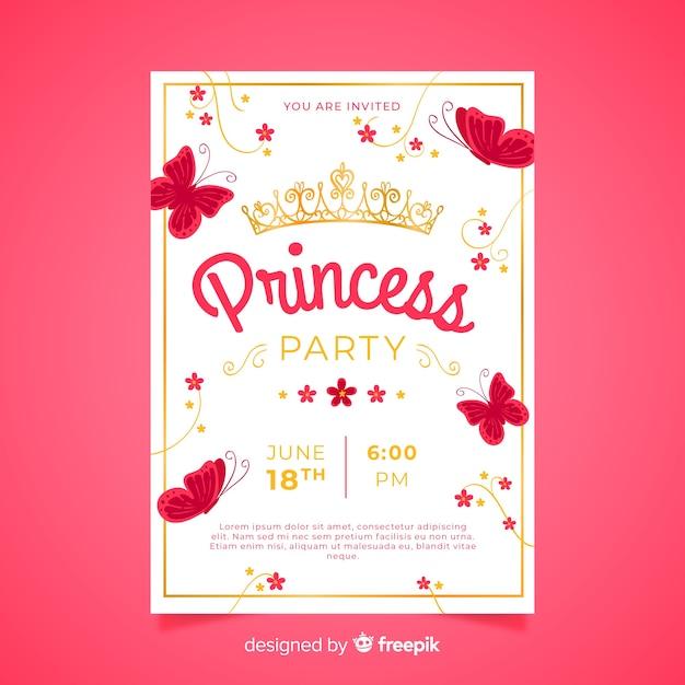 Płaskie Motyle Princess Party Zaproszenie Szablon Darmowych Wektorów