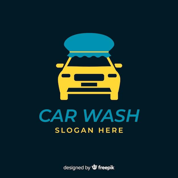 Płaskie niebieskie logo myjni samochodowej Darmowych Wektorów