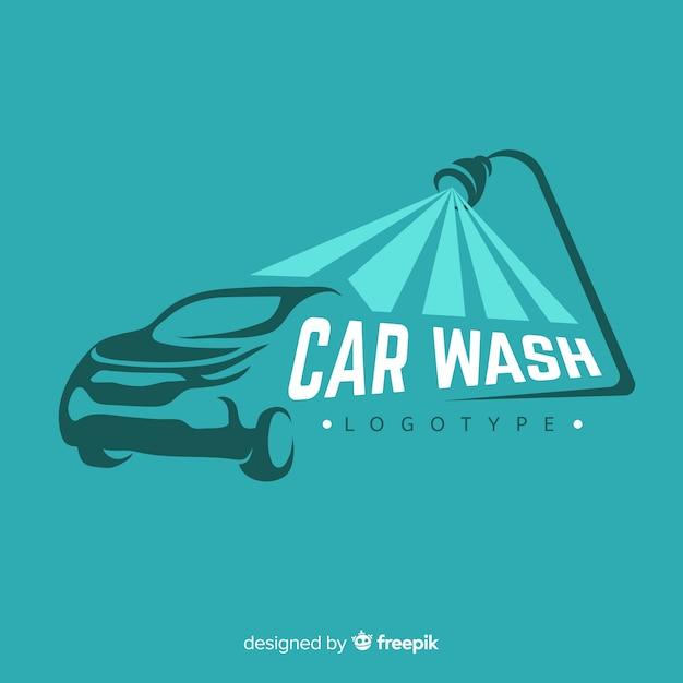 Płaskie Niebieskie Logo Myjni Samochodowej Premium Wektorów