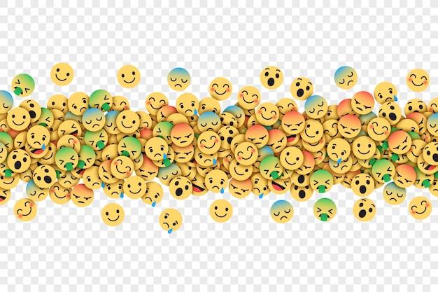 Płaskie nowoczesne facebook emoticons koncepcyjne streszczenie ilustracja Premium Wektorów