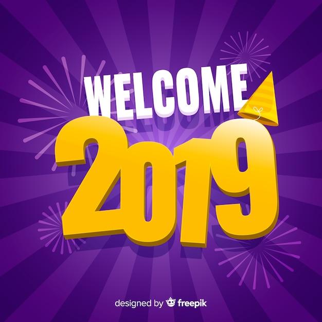 Płaskie nowy rok 2019 tło Darmowych Wektorów