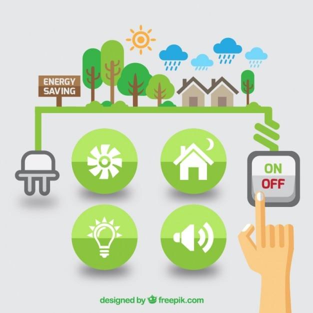 Płaskie odnawialne źródła energii grafiki Darmowych Wektorów