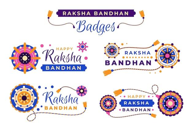 Płaskie Odznaki Raksha Bandhan Darmowych Wektorów