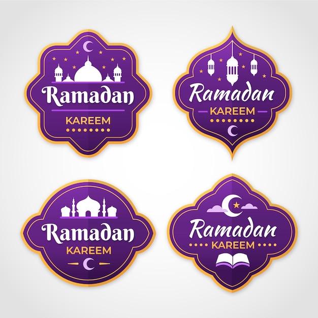Płaskie Opakowanie Etykiet Z Ramadanu Darmowych Wektorów