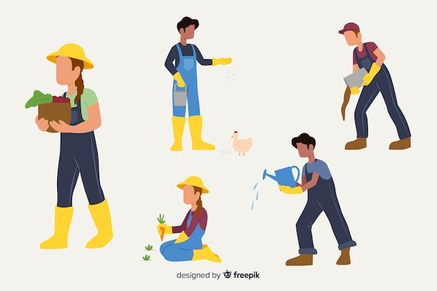 Płaskie postacie obowiązki pracowników rolnych Darmowych Wektorów