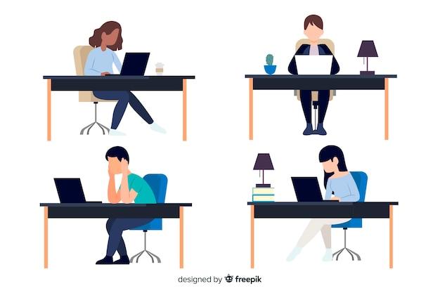 Płaskie postacie pracujące w biurze Darmowych Wektorów