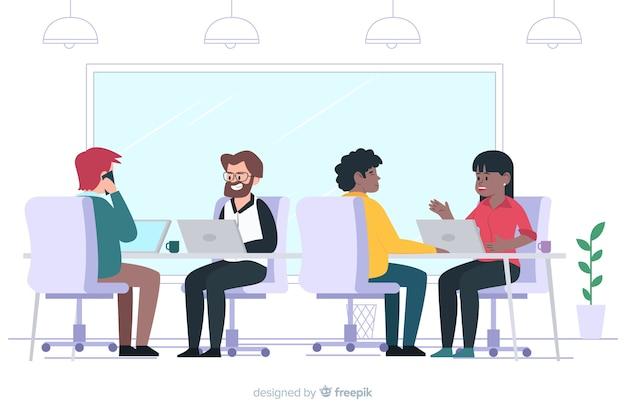 Płaskie postacie siedzą przy biurkach Darmowych Wektorów