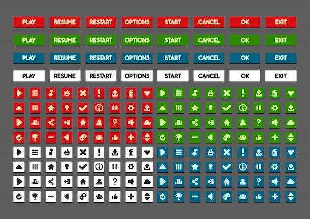 Płaskie przyciski do tworzenia gier wideo Premium Wektorów