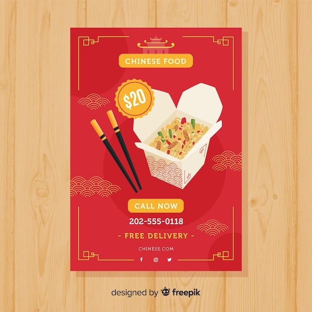 Płaskie pudełko chińskie jedzenie ulotki Darmowych Wektorów