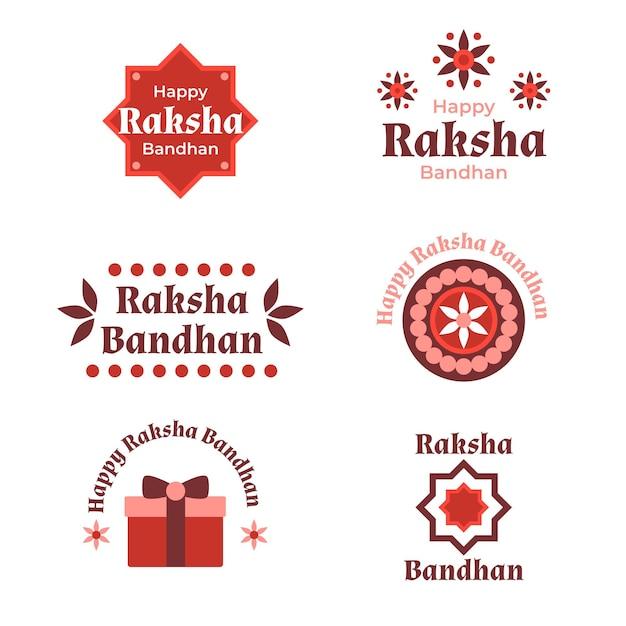 Płaskie Raksha Bandhan Odznaki Koncepcja Darmowych Wektorów