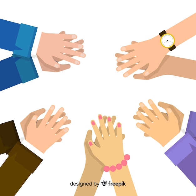 Płaskie ręce brawo tle Darmowych Wektorów
