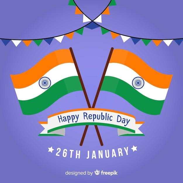 Płaskie republiki indyjskiej dzień tło Darmowych Wektorów