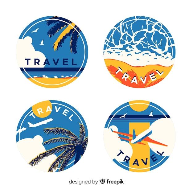 Płaskie Rocznika Etykiety Podróżne Darmowych Wektorów