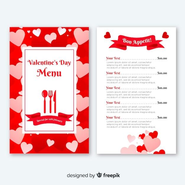 Płaskie serca valentine menu Darmowych Wektorów