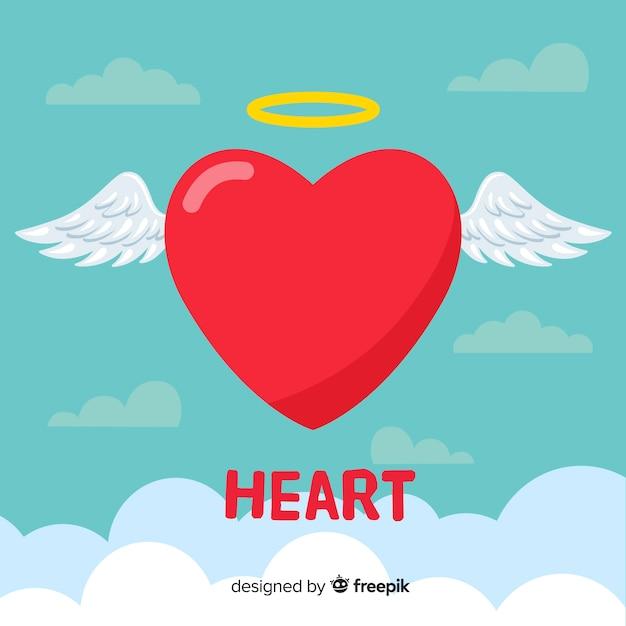 Płaskie Serce Tło Darmowych Wektorów