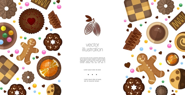 Płaskie Słodkie Produkty Kolorowy Szablon Darmowych Wektorów