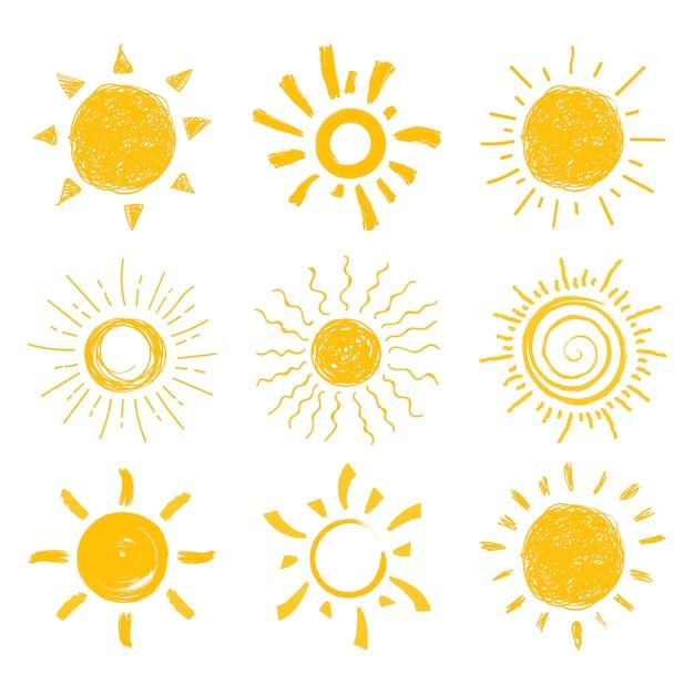Płaskie Słońce Premium Wektorów