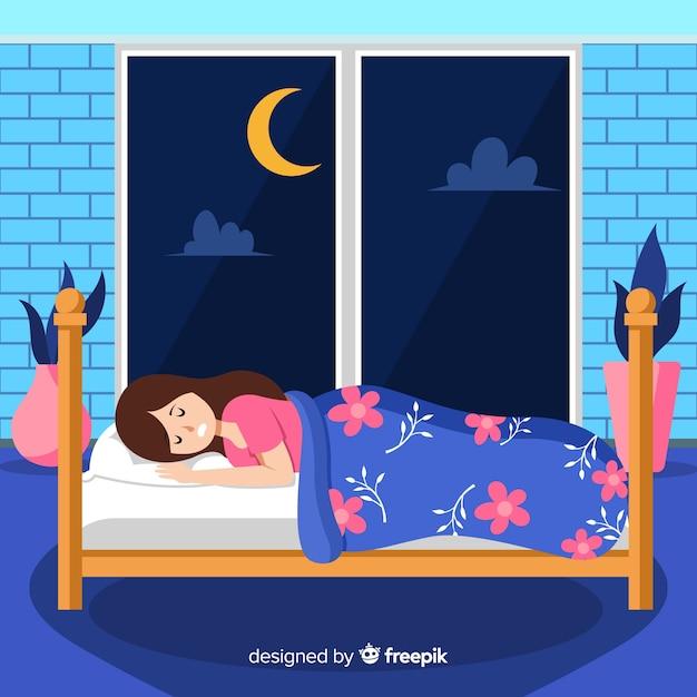 Płaskie śpiące tło dziewczyna Darmowych Wektorów