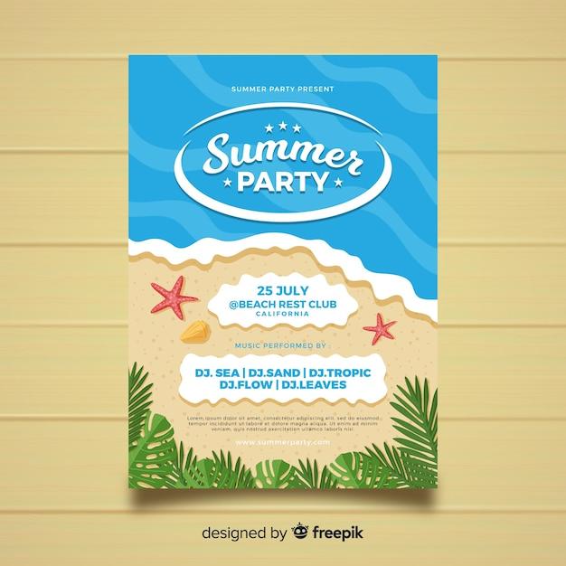 Płaskie Styl Lato Party Plakat Szablon Darmowych Wektorów