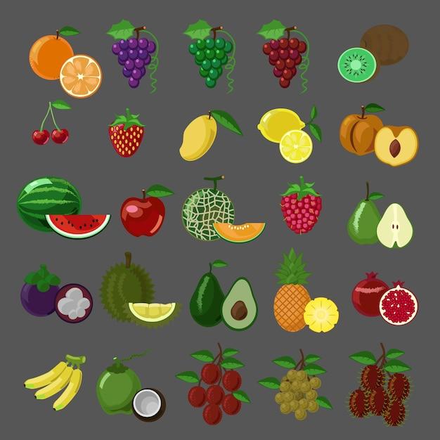 Płaskie styl wektor zestaw ikon owoców Premium Wektorów