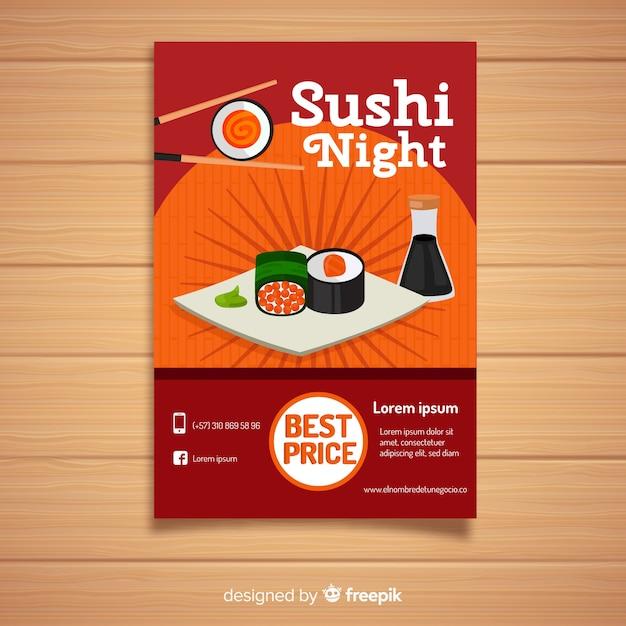 Płaskie sushi chińska restauracja ulotki Darmowych Wektorów