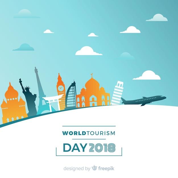 Płaskie światowe Tło Dzień Turystyki Darmowych Wektorów