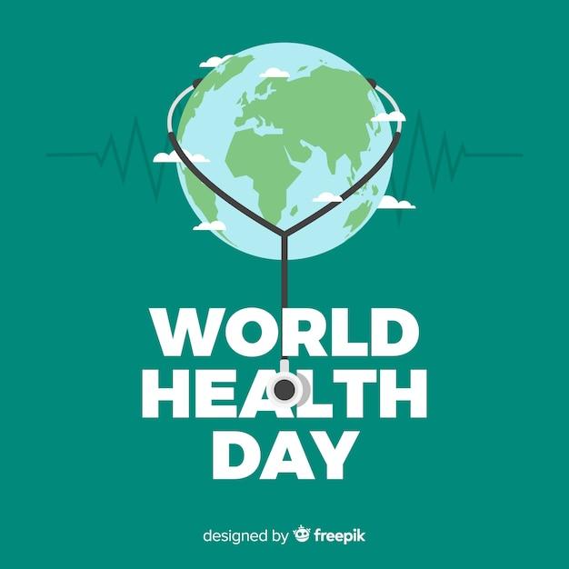 Płaskie światowe tło zdrowia Darmowych Wektorów