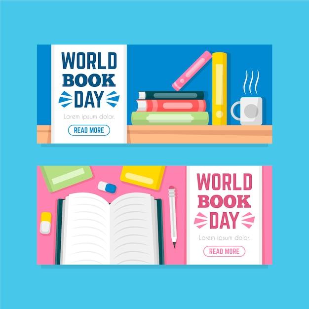 Płaskie światowy Dzień Książki Banery Darmowych Wektorów