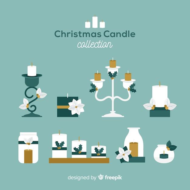 Płaskie świeca świąteczna Kolekcja Darmowych Wektorów