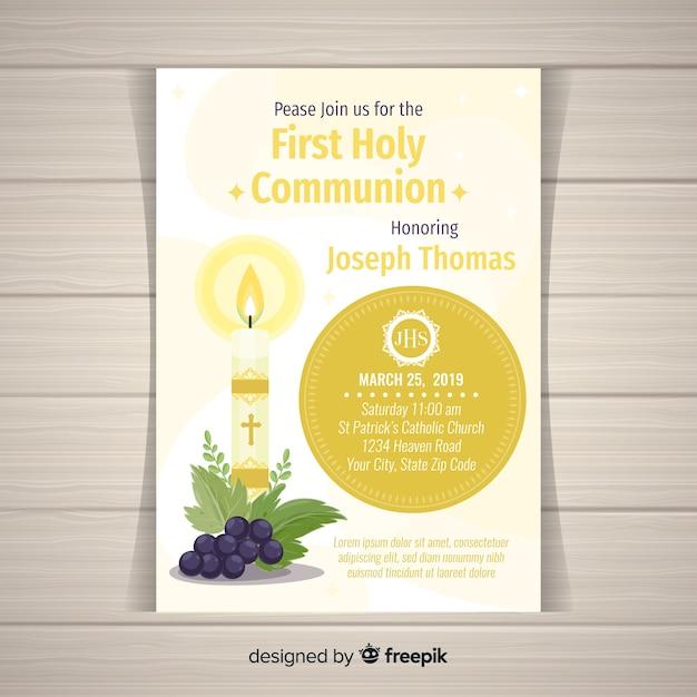 Płaskie świece Zaproszenie Do Pierwszej Komunii Darmowych Wektorów