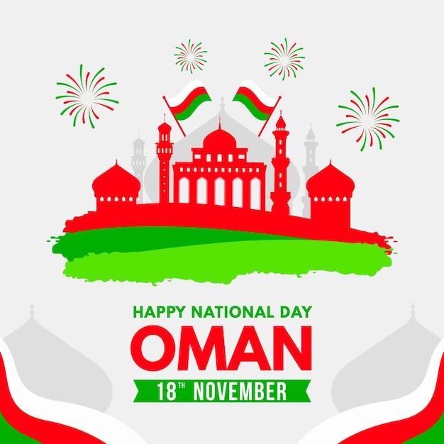 Płaskie święto Narodowe Oman Z Flagami Darmowych Wektorów