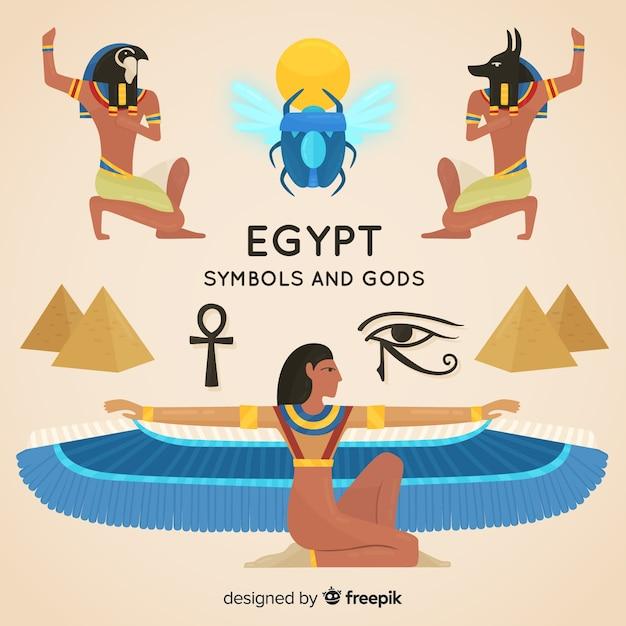 Płaskie Symbole Egipskich Symboli I Bogów Darmowych Wektorów