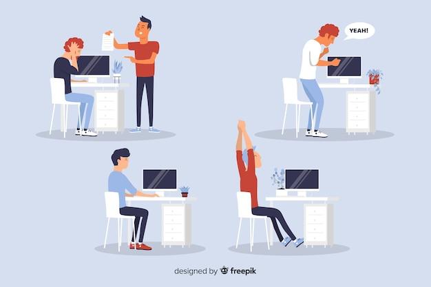 Płaskie sytuacje pracowników biurowych Darmowych Wektorów