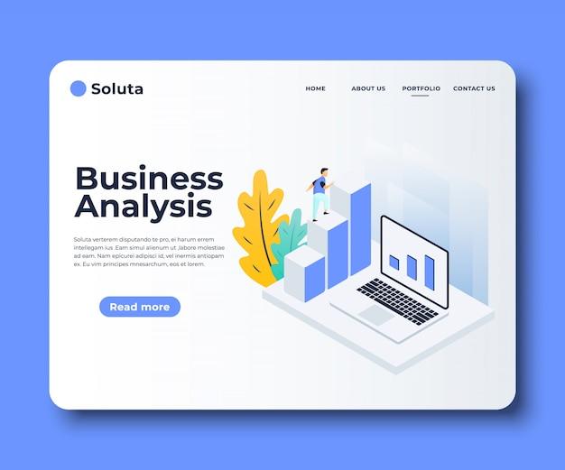 Płaskie Szablony Stron Analizy Rynku, Rozwiązania Biznesowe Premium Wektorów