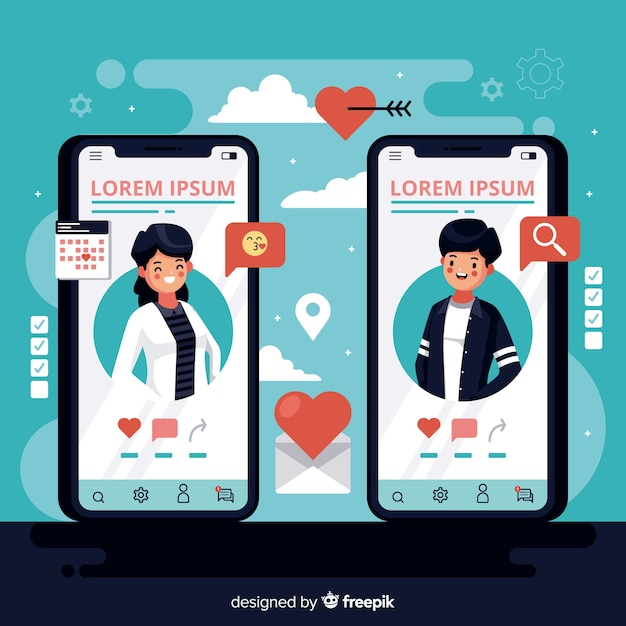 Płaskie telefony komórkowe z aplikacją randkową Darmowych Wektorów