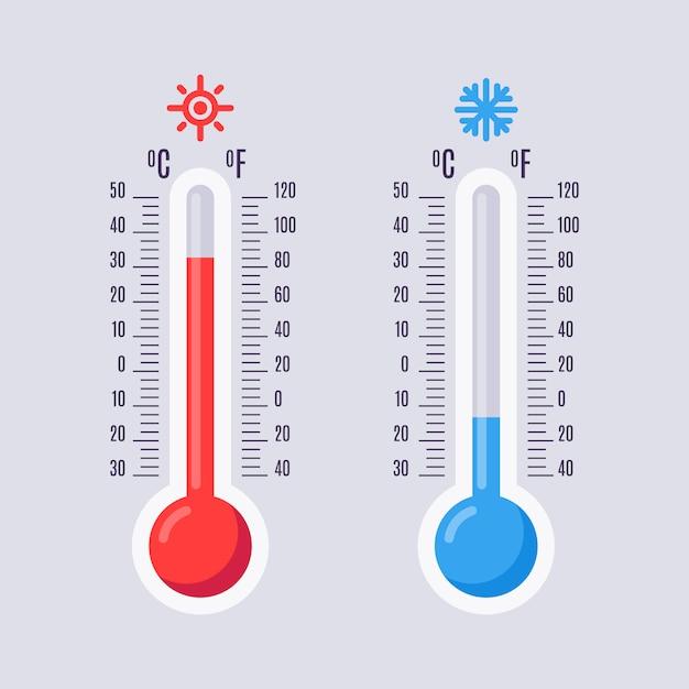 Płaskie Termometry Premium Wektorów