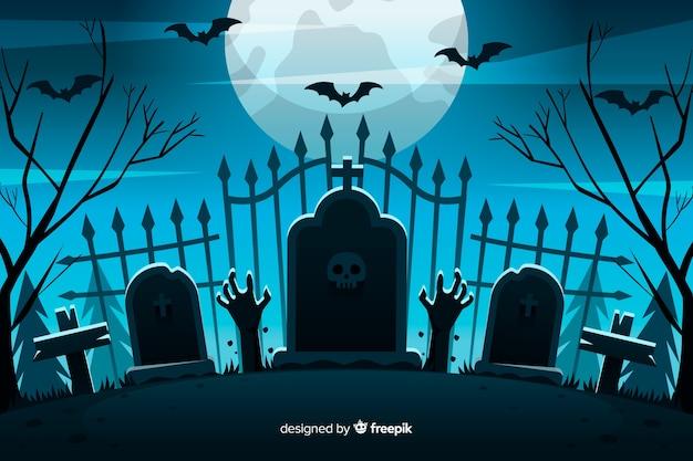 Płaskie tło bramy cmentarza halloween Premium Wektorów