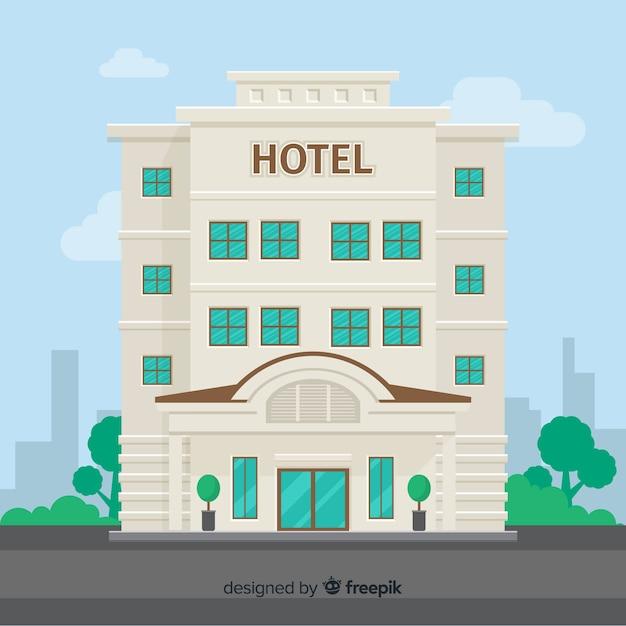 Płaskie tło budynku hotelu Darmowych Wektorów