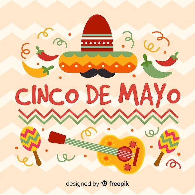Płaskie Tło Cinco De Mayo Darmowych Wektorów