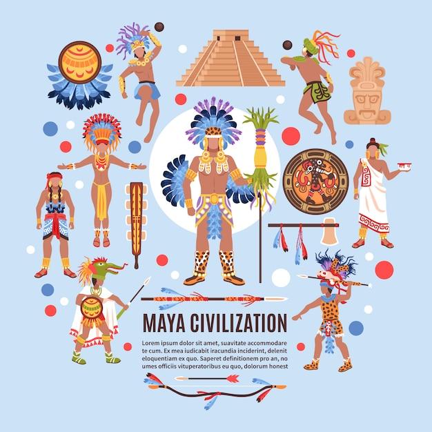 Płaskie Tło Cywilizacji Majów Darmowych Wektorów