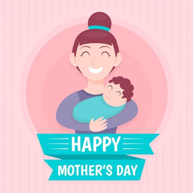 Płaskie Tło Dzień Matki Darmowych Wektorów