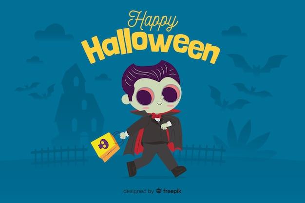 Płaskie tło halloween z cute wampira Darmowych Wektorów