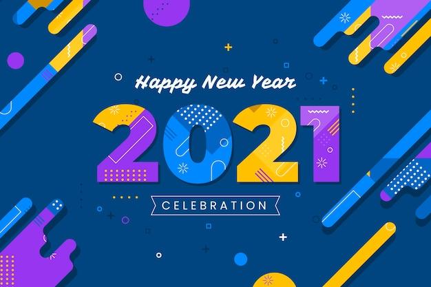 Płaskie Tło Nowego Roku 2021 Darmowych Wektorów