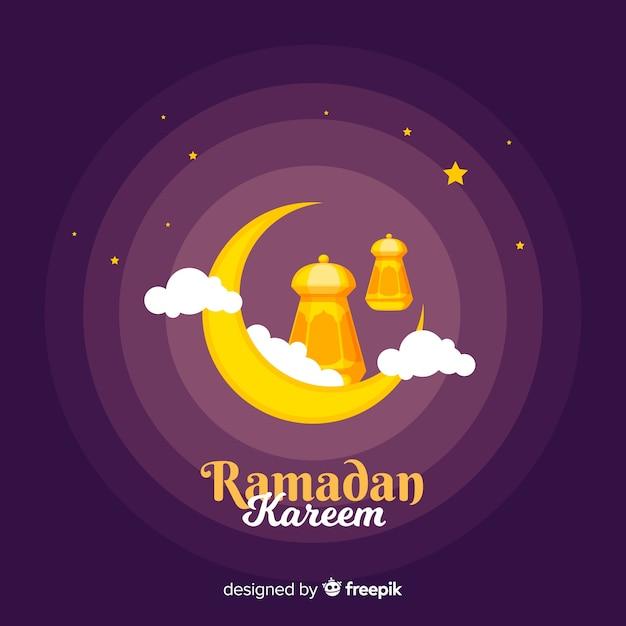 Płaskie Tło Ramadan Darmowych Wektorów