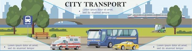 Płaskie Tło Transportu Miejskiego Z Karetką Pogotowia Samochodowego Zamiatacz Autobusów I Pociągiem Poruszającym Się Po Moście Darmowych Wektorów