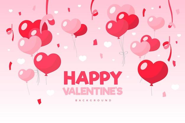Płaskie Tło Valentine's Day Darmowych Wektorów
