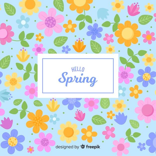 Płaskie tło wiosna Darmowych Wektorów