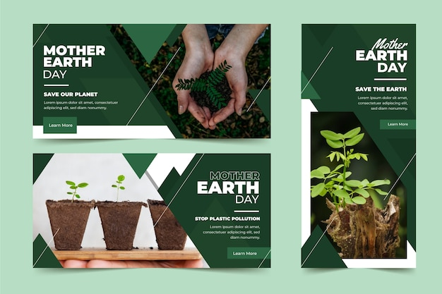 Płaskie Transparent Dzień Matki Ziemi Darmowych Wektorów